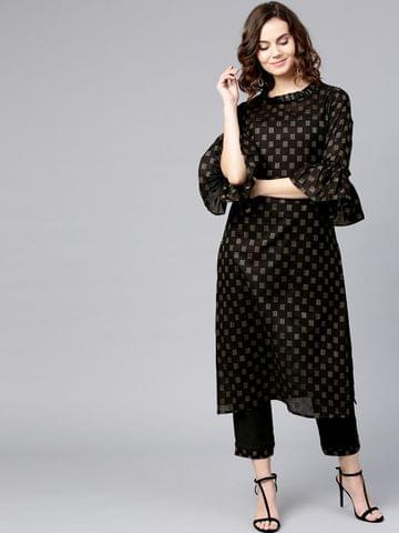 Yufta Women Black Printed Kurta with Trousers