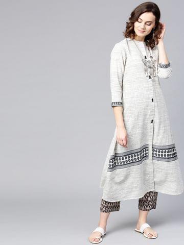 Yufta Women Off-White & Grey Woven Design A-Line Kurta