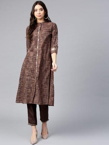 Yufta Women Brown Woven Design A-Line Kurta