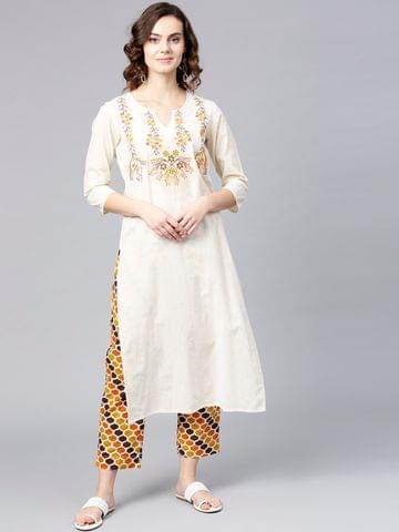 Yufta Women Off-White & Orange Yoke Design Kurta with Trousers