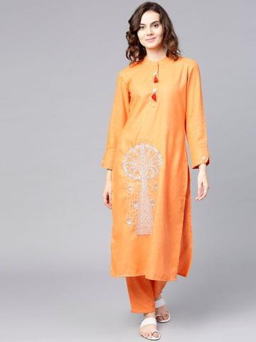 Yufta Women Orange Embroidered Kurta with Trousers