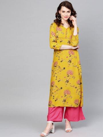 Yufta Women Mustard Yellow & Pink Printed Kurta with Palazzos