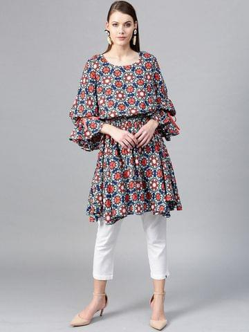 Yufta Multicoloured Printed Blouson Tunic
