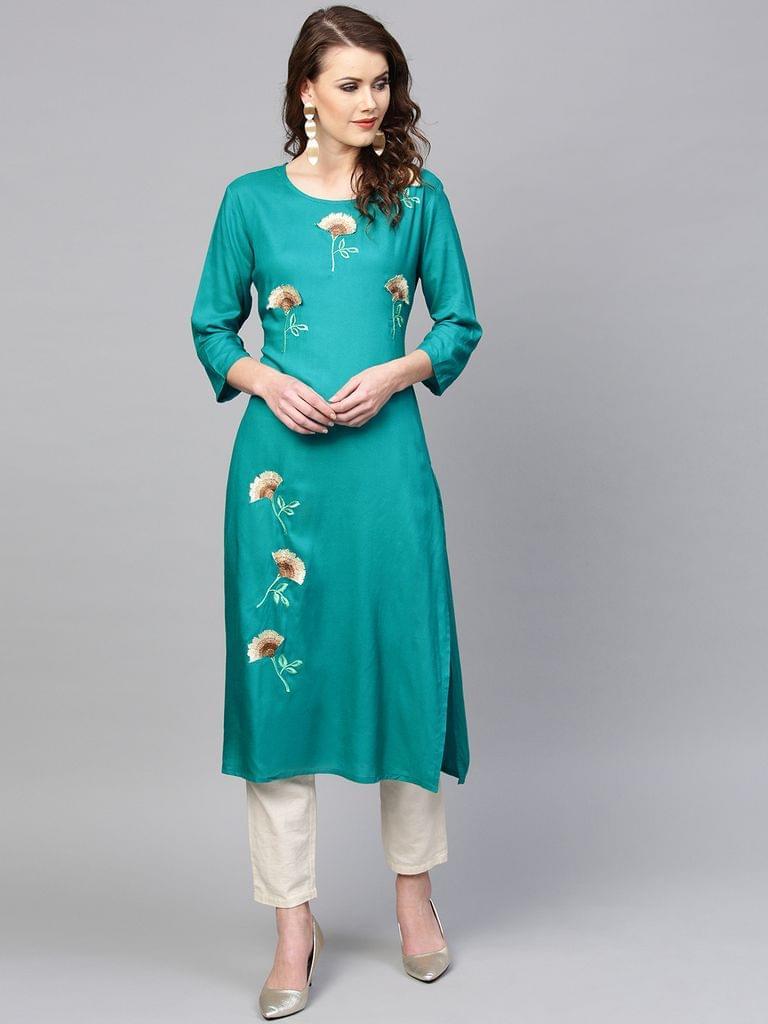 Yufta Women Turquoise Blue Embroidered Straight Kurta