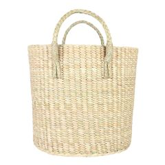 HabereIndia - Laundry Basket/Picnic Basket/Storage Basket/Fruit Picking Basket (Colour - Beige)