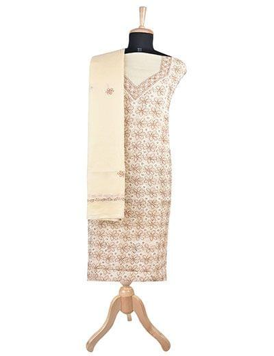 Rohia by Chhangamal Hand Embroidered Beige Cotton Chikan Suit Length(Kurta 2.5 M, Bottom 2 M, Dupatta 2.15 M)