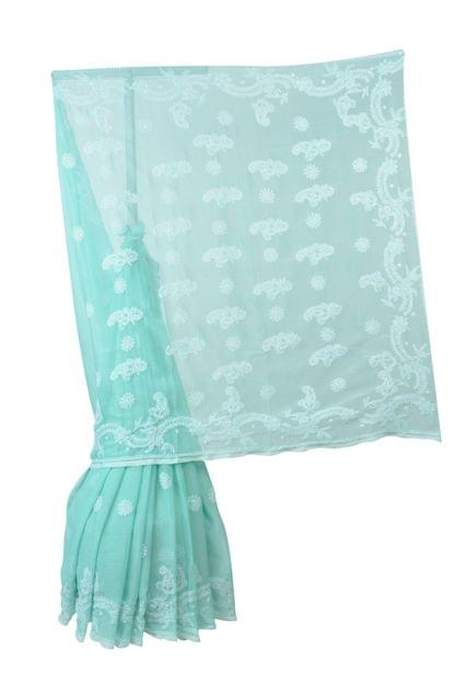 Rohia by Chhangamal Hand Embroidered Green Faux Georgette Chikan Saree.