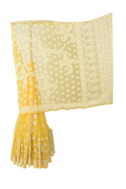 Rohia by Chhangamal Hand Embroidered Yellow Faux Georgette Chikan Saree.