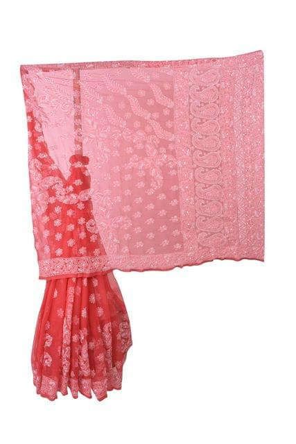 Rohia by Chhangamal Hand Embroidered Red Faux Georgette Chikan Saree.