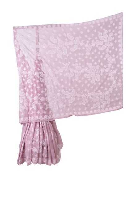 Rohia by Chhangamal Hand Embroidered Pink Faux Georgette Chikan Saree.