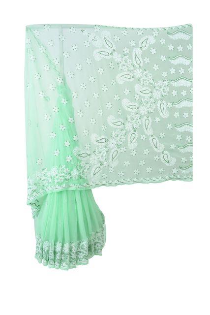 Rohia von Chhangamal von Hand bestickter grüner Imitat-Georgette-Chikan-Saree.