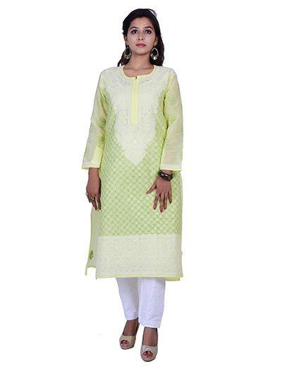 Rohia by Chhangamal Hand Embroidered Yellow Cotton Chikan Kurti