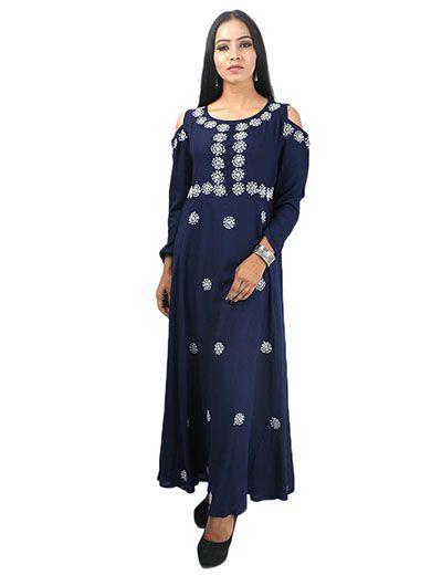 Rohia by Chhangamal Women's Hand Embroidered Blue Cotton Chikan Kurti