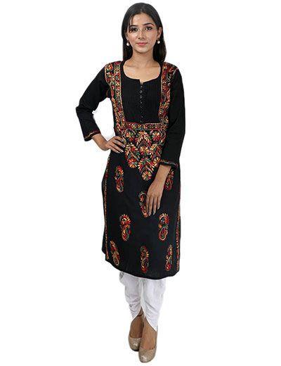 Rohia by Chhangamal Women's Hand Embroidered Black Cotton Chikan Kurti
