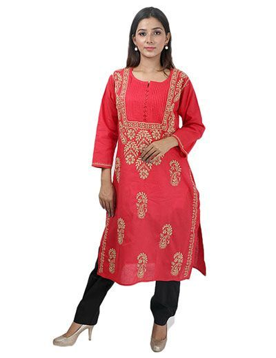 Rohia by Chhangamal Women's Hand Embroidered Pink Cotton Chikan Kurti