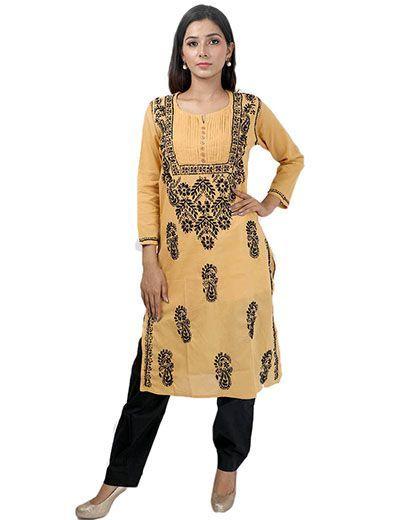 Rohia by Chhangamal Women's Hand Embroidered Brown Cotton Chikan Kurti
