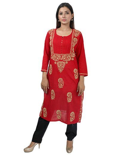 Rohia by Chhangamal Women's Hand Embroidered Red Cotton Chikan Kurti