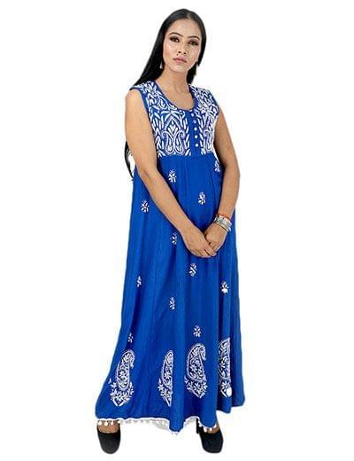 Rohia by Chhangamal Women's Hand Embroidered Blue Rayon Chikan Kurti