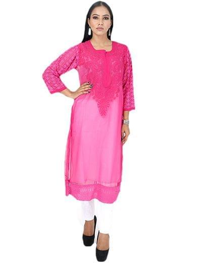 Rohia by Chhangamal Women's Hand Embroidered Pink Georgette  Chikan Kurti