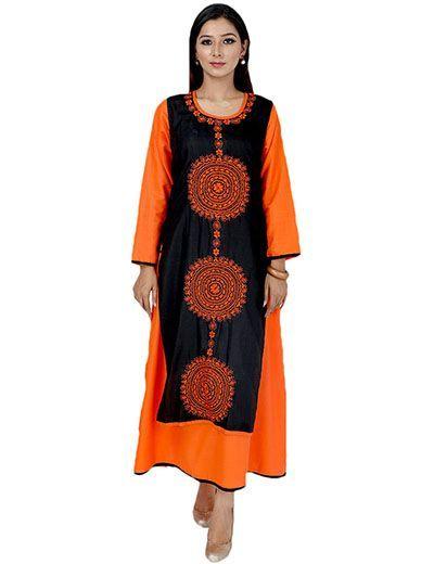 Rohia by Chhangamal Women's Hand Embroidered Orange Cotton Lucknow Chikankari Kurti With Koti