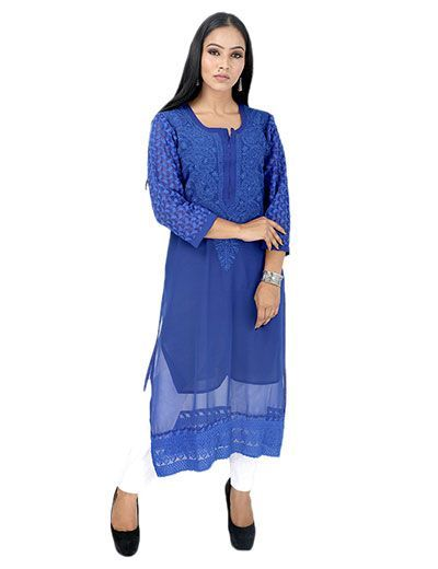 Rohia by Chhangamal Frauen Hand bestickt blau Georgette Chikan Kurti