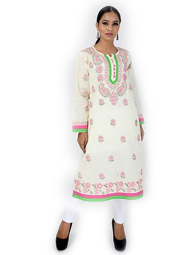 Rohia by Chhangamal Women's Hand Embroidered Lemon Color Chikan Kurti