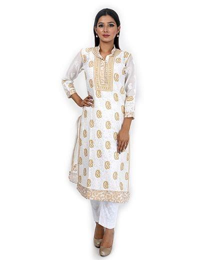 Rohia by Chhangamal Women's Hand Embroidered Cream Chikan Kurti