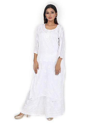 Rohia by Chhangamal Women's Hand Embroidered White Chikan Kurti