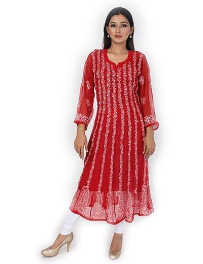 Rohia by Chhangamal Women's Hand Embroidered Red Chikan Kurti