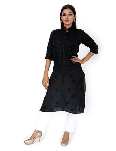 Rohia by Chhangamal Women's Hand Embroidered Black Chikan Kurti
