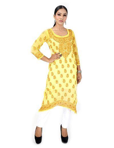 Rohia by Chhangamal Women's Hand Embroidered Yellow Chikan Kurti