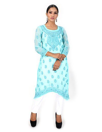 Rohia by Chhangamal Women's Hand Embroidered Sky Blue Chikan Kurti