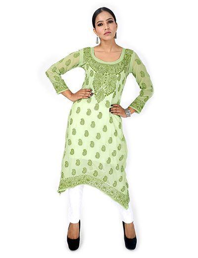 Rohia by Chhangamal Women's Hand Embroidered Pale Green Chikan Kurti