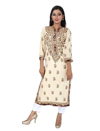 Rohia by Chhangamal Women's Hand Embroidered off white Chikan Kurti