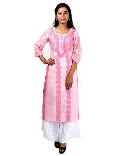Rohia by Chhangamal Frauen Hand bestickt rosa Baumwolle Chikan Kurti