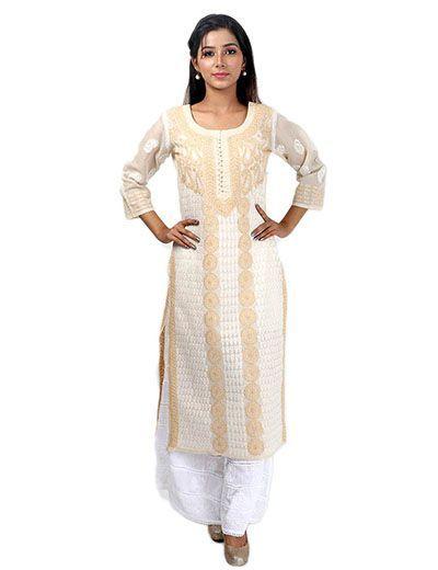 Rohia by Chhangamal Women's Hand Embroidered Cream Cotton Chikan Kurti