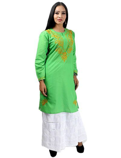 Rohia by Chhangamal Women's Hand Embroidered Green Cotton Chikan Kurti
