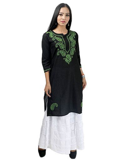 Rohia by Chhangamal Women's Hand Embroidered Black Cotton Chikan Kurti