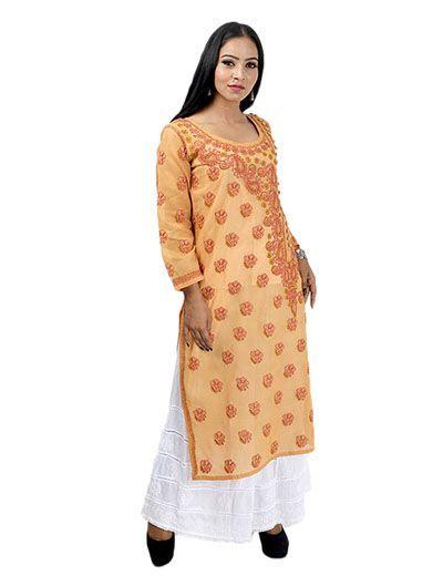 Rohia by Chhangamal Women's Hand Embroidered Peach Cotton Chikan Kurti