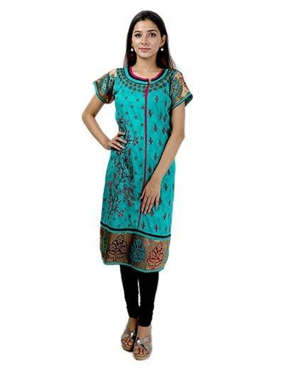 Rohia by Chhangamal Women's Hand Embroidered Multi Colour Cotton Chikan Kurti