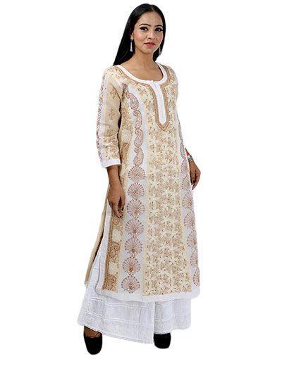 Rohia by Chhangamal Women's Hand Embroidered  Cotton Chikan Kurti