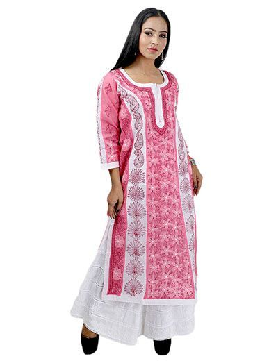 Rohia by Chhangamal Women's Hand Embroidered Pink Cotton Chikan Kurti