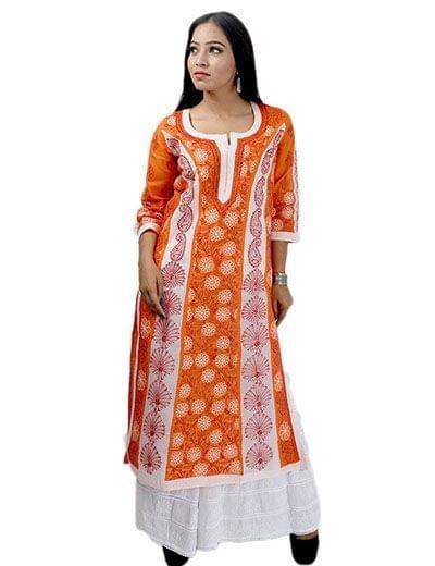 Rohia by Chhangamal Frauen Handgestickte orange Baumwolle Chikan Kurti