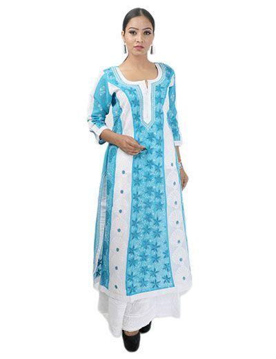Rohia by Chhangamal Women's Hand Embroidered Sky Blue Cotton Chikan Kurti