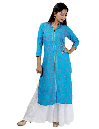 Rohia by Chhangamal Frauen Hand bestickt blau Baumwolle Chikan Kurti