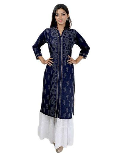 Rohia by Chhangamal Women's Hand Embroidered Blue Cotton Chikan Kurti