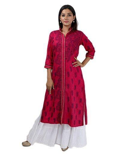 Rohia by Chhangamal Women's Hand Embroidered Magenta Cotton Chikan Kurti