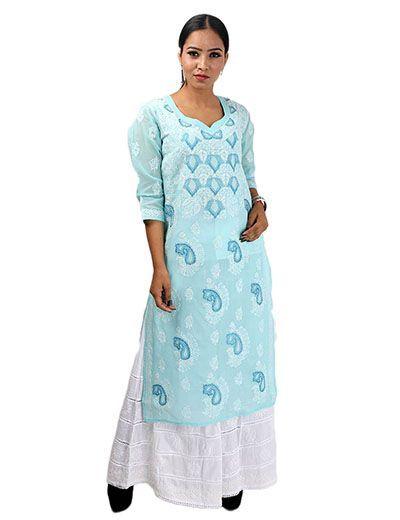 Rohia by Chhangamal Women's Hand Embroidered Light Blue Cotton Chikan Kurti