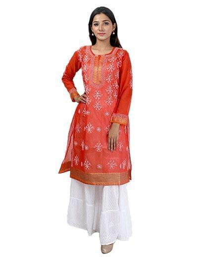 Rohia by Chhangamal Women's Hand Embroidered Red Chanderi Cotton Chikan Kurti
