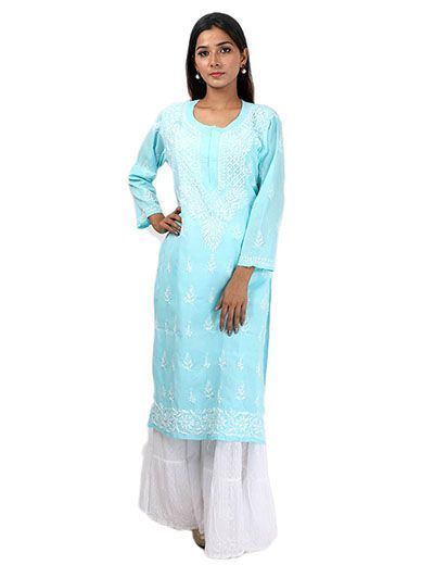 Rohia by Chhangamal Women's Hand Embroidered Light Blue Cotton Chikan Kurti